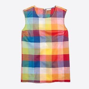 J. CREW Gingham Sleeveless Check Rainbow Plaid Top